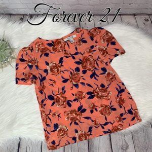 FOREVER 21 SPRING FLORAL PRINT PUFF SLEEVE TOP